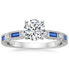 0.36ct 14k White Gold Baguette Sapphire and Diamond Engagement Ring Semi Mount #TrueDiamondJewelry #SolitairewithAccents