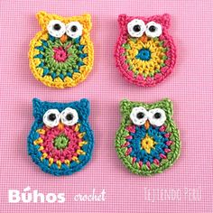 4 OWLS used as a pattern, guide, whatever! Owl Crochet Patterns, Crochet Owls, Crochet Motif, Crochet Designs, Crochet Crafts, Easy Crochet, Crochet Flowers, Crochet Baby, Crochet Projects