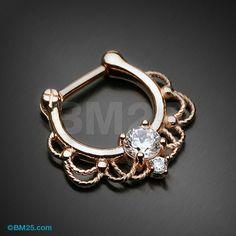 Rose Gold Turan Sparkle Septum Clicker Ring