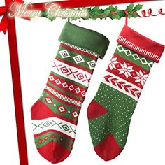 """Knit Christmas Stockings for Family 22"""" x 7"""" Sets of 2 - Red/White/Green Snowflake - http://www.christmasshack.com/christmas-stockings/knit-christmas-stockings-for-family-22-x-7-sets-of-2-redwhitegreen-snowflake/"""