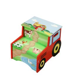 Step up and pitch in on the farm. Teamson's Farm Storage Step Stool, gives your little ones a leg up in pitching in. Whether it is to reach new heights so they can brush their teeth, or get a boost into or out of bed this stool is a must have. Decorative tractor lines the sides of the step stool and scenic mural of the farm is displayed on the step stool.
