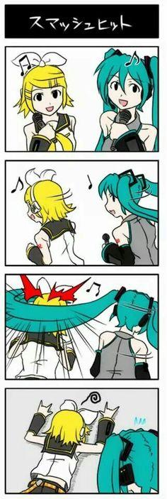 Hah! Miku weapon hair!!