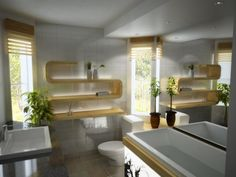 white modern bathroom with large mirror, plants, funky shelves, and wood accents. Modern Bathroom Inspiration from Bathroom Bliss by Rotat. Contemporary Bathroom Designs, Bathroom Design Luxury, Contemporary Interior Design, Bath Design, Contemporary Style, Zen Design, Interior Modern, Modern Luxury, Bad Inspiration