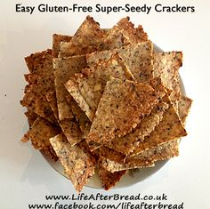 Easy Gluten-Free Super-Seedy Crackers Great substitute for packaged tortilla chips and crackers. Low Carb Cheese Crackers Recipe, Seed Crackers Recipe, Gluten Free Crackers, Wheat Free Recipes, Gf Recipes, Gluten Free Recipes, Snack Recipes, Savory Snacks, Healthy Snacks
