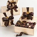Chocolate wooden box assortments by L.A. Burdick