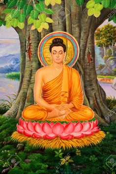 Buddha's Biography Painting On Wall Of Temple, Wat Pa Samoson ...