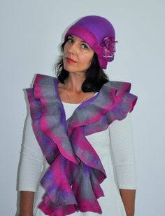 Felted SET ruffle scarf and Hat Handmade Felted Hat by GraceBits