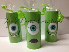Monsters Inc (Mike Wazowski) candy rolls Makes an adorable addition to your next monsters inc event or party Contact me for purchasing info  Jayspartycreations@hotmail.com  Facebook: www.facebook.com/jvpartycreations Instagram: jayspartycreations