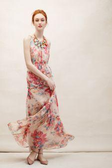 Blooming Silk Maxi Dress | Anthropologie