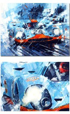 Gulf Duel (Porsche 917 / Spa 1000km 1970) Original Painting by John Ketchell