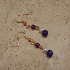 Amethyst & Pearl Copper Earrings TheGemGirlJewelry - $12.50