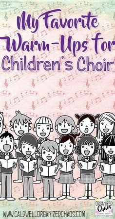 My Favorite Warm-Ups for Children's Choir. Great ideas for choral warm-ups that work for beginning choir with young students. Fun and easy ways to get students engaged and working on specific choral concepts and skills without taking too Vocal Lessons, Music Lessons For Kids, Music Lesson Plans, Singing Lessons, Music For Kids, Preschool Music Lessons, Singing Tips, Choir Warm Ups, Elementary Choir