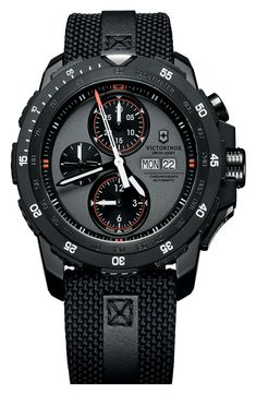 Free shipping and returns on Victorinox Swiss Army® 'Alpnach' Automatic Chronograph Watch, 44mm at Nordstrom.com. Black PVD steel adds to the rugged aesthetic of a mechanical watch sporting chronograph complication and a rotating tachymeter bezel. The woven nylon strap offers comfort and durability, while leather accents lend a handsome tailored finish.