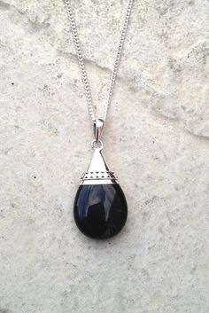 Black Agate Necklace/ Black Gemstone Necklace/ by AVBohoJewellery