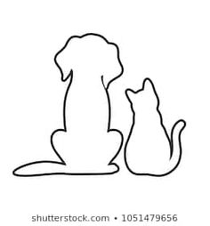 Silhouette-cat-black Stock Vectors, Images & Vector Art - outline of a dog and a cat on a white background - Cat Outline Tattoo, Dog Outline, Animal Outline, Outline Drawings, Dog Drawings, Cat And Dog Drawing, Cat And Dog Tattoo, Cat Tattoo, Animal Tattoos