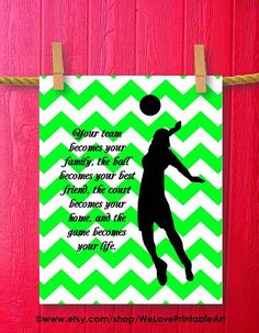 Sports Theme: Coaching Volleyball - Here is a printable green chevron art sign featuring a female volleyball player. Attitude is the little thing that makes a big difference. Volleyball Room, Volleyball Party, Volleyball Posters, Volleyball Shirts, Coaching Volleyball, Volleyball Drawing, Volleyball Sayings, Volleyball Images, Volleyball Workouts