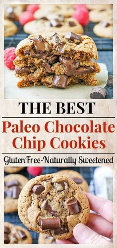 The Best Paleo Chocolate Chip Cookies! The perfect taste and texture and no one … The Best Paleo Chocolate Chip Cookies! The perfect taste and texture and no one … – Paleo Chocolate Chips, Gluten Free Chocolate Chip Cookies, Paleo Cookies, Delicious Chocolate, Chocolate Bars, Paleo Chips, Paleo Cookie Recipe, Brownie Cookies, Vegan Chocolate