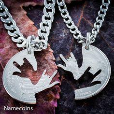 I Love you Necklace Helen Keller Quarter Interlocking by NameCoins