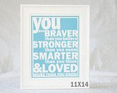 Winnie the Pooh Quote You Are Braver than You Believe Raw Art Letterpress Typography Poster