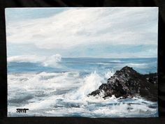 """Seascape original acrylic painting on 8"""" x 6"""" canvas board, sea painting, wall decor, unframed office art, home decor, canvas art by ThisArtToBeYours on Etsy Canvas Board, Seascape Paintings, Office Art, Landscapes, Shops, Wall Decor, Etsy Shop, Diet, The Originals"""