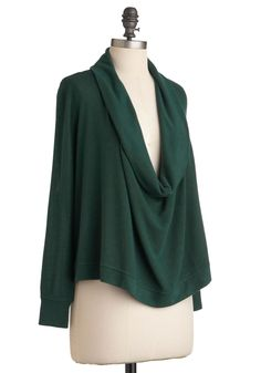 Woodland Wow Top. On the final night of your camping trip, add to the aura of the evening by stepping out of your tent and over to the campfire wearing the stunning deep cowl neckline of this pine-green top. #green #modcloth