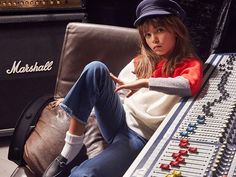 Bruno Ripoche October Vogue Gucci kid loafers , I'd wear this. Denim Jacket Patches, Denim Hat, Like A Rolling Stone, Rolling Stones, Fashion 2018, Kids Fashion, Fashion Outfits, All Star, Baskets