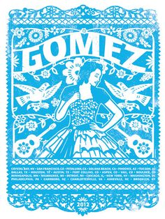 Gomez The Band Main Blue Tour 2012 Quinceanera Silk Screen Rock Poster. $20.00, via Etsy.
