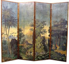 RL Goins did extensive restoration to these Zuber panels and designed a four panel screen with them. (rlgoins.com)