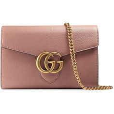 Gucci Gg Marmont Leather Mini Chain Bag ($1,400) ❤ liked on Polyvore featuring bags, handbags, shoulder bags, bolsas, gucci, pink, rose, leather chain wallet, brown leather handbags and leather shoulder bag