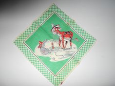 CHILD'S VINTAGE HANDKERCHIEF COW AND RABBIT BY TOM LAMB