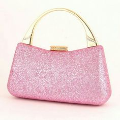 !SALE! Fabulous Pink Glitter Clutch Sparkly pink glitter clutch with gold handle. Perfect for prom or any evening gown occasion. Brand new. Never used. Bags Clutches & Wristlets