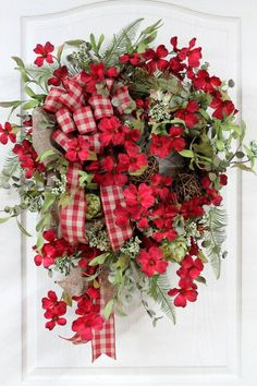 Primitive Country Red Door Wreath, Red Ckecked & Burlap Bow, Red Dogwoods, Grapevine Balls, Artichokes, Country Decor -- FREE SHIPPING