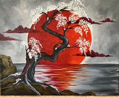 Japanese Crimson Moon @ Pinot's Palette Woodmere (Cleveland Paint and Sip Art Studio) - This contemporary picture with its deep crimson moon and delicate flowers is surreal. Painting Inspiration, Art Inspo, Paint And Sip, Cool Paintings, Deep Paintings, Tree Art, Chinese Art, Japanese Art, Japanese Water