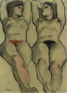 Ronald B. Kitaj aka Ronald Brooks Kitaj aka R.B. Kitaj (American, 1932-2007, b. Chagrin Falls, OH, USA) - The Red And The Black, 1980 Drawings: Pastels, Charcoal on Handmade Buff Paper