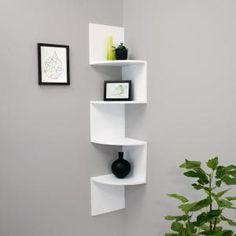 nexxt Provo Corner Wall Shelf, 12 by 57 Inch, White nexxt Floating Wall Shelves White, Wall Mounted Corner Shelves, Wall Shelf Decor, White Shelves, Wood Shelves, Corner Shelf, Wall Color Combination, White Bookshelves, Room Decor