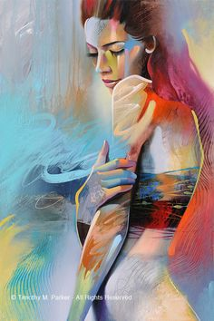 FIGURE STUDY #6 - Fine Art Print on Textured Paper or Canvas - Limited Edition of 295 This abstract figurative artwork combines the random energy of an abstract painting and the tranquil pose of the female figure.  Hand signed by the artist - Tim Parker  : : : FIVE DIFFERENT SIZES : : :