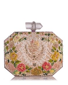 Marchesa Iris Floral Embroidered Box Clutch Bag