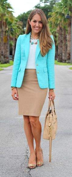 Turquoise blazer outfit with neutrals