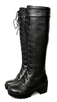 Sfnld Womens Fall Spring Knee High Pump Shoes Martin Boots Black 45 BM US -- More info could be found at the image url.