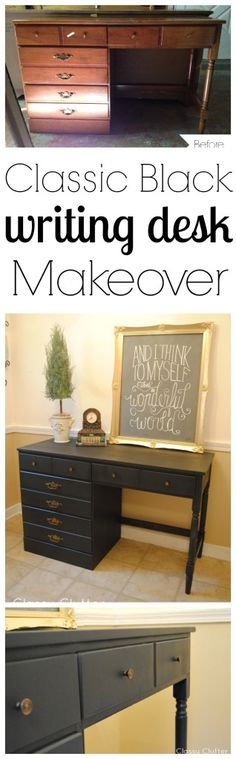 Painting furniture without sanding desk makeover 59 ideas Desk Chair Makeover, Furniture Makeover, Black Painted Furniture, Paint Furniture, Black Desk, Ikea, Diy Desk, Classic Furniture, Pottery Barn