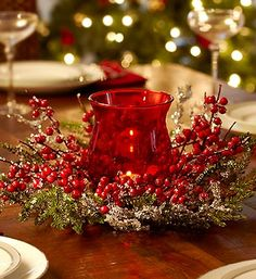 Warm up winter nights with our Ice Pine Berry candle holder featuring berries and greens with a red candle centerpiece! Christmas Candles, Christmas Love, Christmas Holidays, Christmas Ideas, Candle Centerpieces, Christmas Centerpieces, Christmas Decorations, Seasonal Decor, Holiday Decor