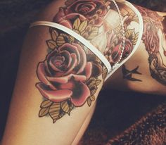Rose Leg Tattoo