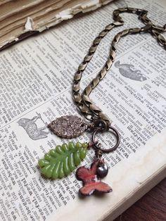 Butterfly and Leaves Charm Necklace van LoreleiEurtoJewelry op Etsy, $38.00