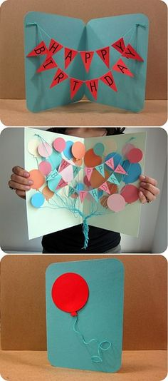 The stringy-thing in the middle if the card is frustrating. Have a game plan & measure out the string & mark where you attach it. To get the little flags to stay down is up to you. I didn't do the balloon on the front, but the idea is super cute & easy. Good luck! Hand made cards mean more than store bought.