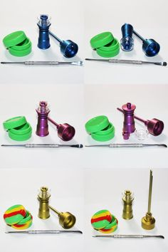 [Visit to Buy] 14mm & 18mm Domeless Gr2 Color Quartz Nail Titanium Nail Dabber Carb Cap for Oil Rigs Glass Hookahs Smoking Water Pipes #Advertisement