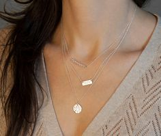 Silver Layered Necklace Set // With Short Name Plate Necklace // Minimal Sterling Silver Necklaces // Delicate Silver Necklaces w/ Gemstones on Etsy, $33.00