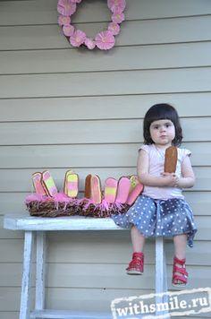 День рождения дочки. Катюшке 3 года. Имбирные пряники в форме мороженого для детей