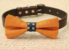 Burnt Orange Dog Bow Tie, Bow attached to brown dog collar, Pet wedding accessory, Fall wedding, dog accessory, Orange Navy bow tie