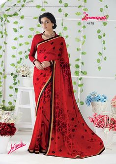 Buy this Stunning Red Georgette Stone Work Saree and Red Chiffon with Embroidery Blouse along with Cutwork Lace Border by Laxmipati. Look fresh, look chic! Laxmipati Sarees, Work Sarees, Georgette Sarees, Saree Shopping, Red Chiffon, Dubai Fashion, Printed Sarees, Cutwork, Look Chic
