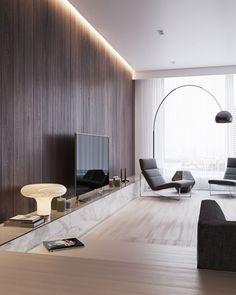 Просторная гостиная в современном стиле. on Behance